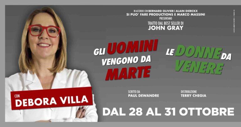 """DEBORA VILLA: l'attrice torna a teatro da 28 al 31 ottobre con """"Gli uomini vengono da Marte, le donne da Venere"""""""